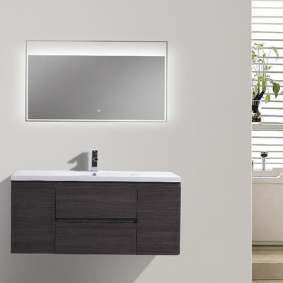 MOB 47 Single Bathroom Vanity Set Base Finish: Dark Gray Oak