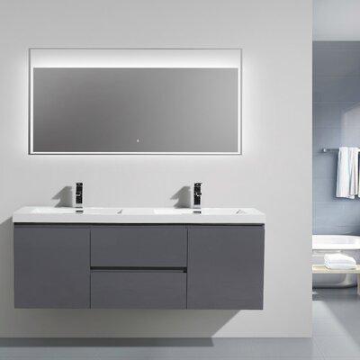 MOB 59 Double Bathroom Vanity Set Base Finish: High Gloss Gray