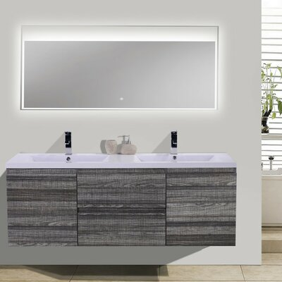 MOB 59 Double Bathroom Vanity Set Base Finish: High Gloss Ash Gray