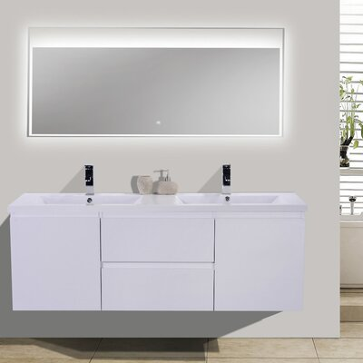 MOB 59 Double Bathroom Vanity Set Base Finish: High Gloss White