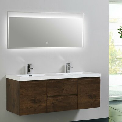 MOB 59 Double Bathroom Vanity Set Base Finish: Rosewood