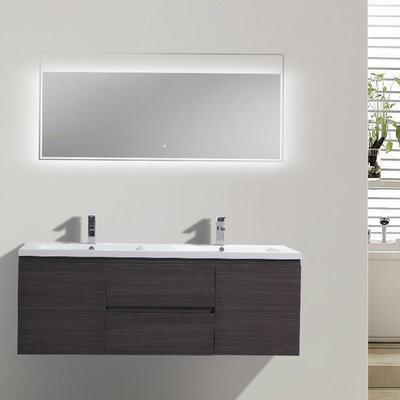 MOB 59 Double Bathroom Vanity Set Base Finish: Dark Gray Oak