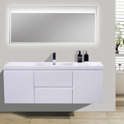 MOB 59 Single Bathroom Vanity Set Base Finish: High Gloss White