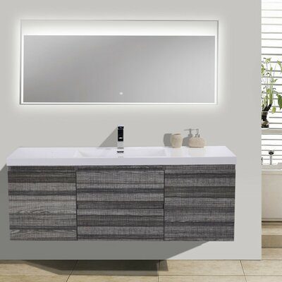 MOB 59 Single Bathroom Vanity Set Base Finish: High Gloss Ash Gray