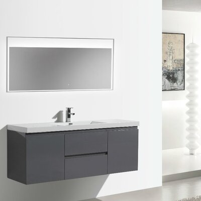 MOB 59 Single Bathroom Vanity Set Base Finish: High Gloss Gray