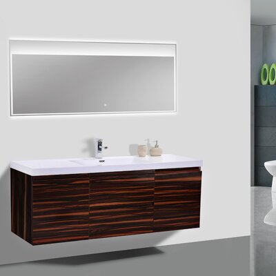 MOB 59 Single Bathroom Vanity Set Base Finish: High Gloss Rose Walnut