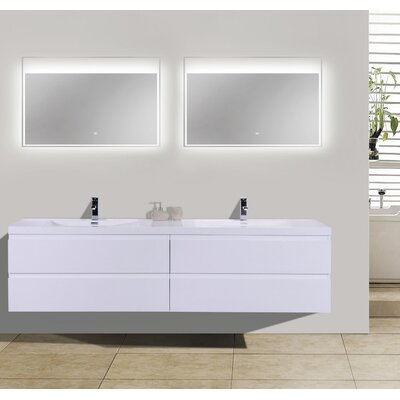 MOB 71 Double Bathroom Vanity Set Base Finish: High Gloss White