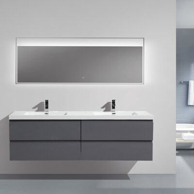 MOB 71 Double Bathroom Vanity Set Base Finish: High Gloss Gray