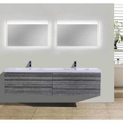 MOB 71 Double Bathroom Vanity Set Base Finish: High Gloss Ash Gray