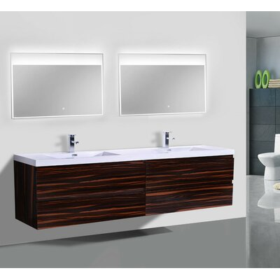MOB 71 Double Bathroom Vanity Set Base Finish: High Gloss Rose Walnut