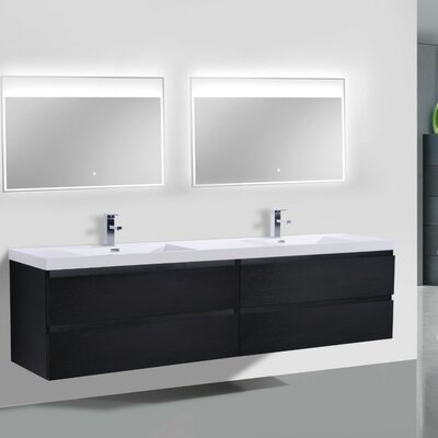 MOB 71 Double Bathroom Vanity Set Base Finish: Black