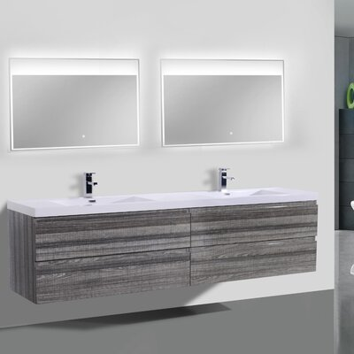 MOB 84 Double Bathroom Vanity Set Base Finish: High Gloss Ash Gray