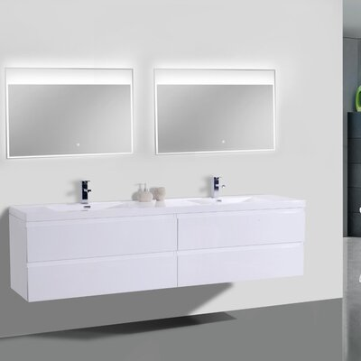 MOB 84 Double Bathroom Vanity Set Base Finish: High Gloss White