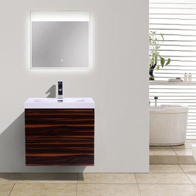 MOB 24 Single Bathroom Vanity Set Base Finish: High Gloss Rose Walnut