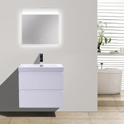 MOB 24 Single Bathroom Vanity Set Base Finish: High Gloss White