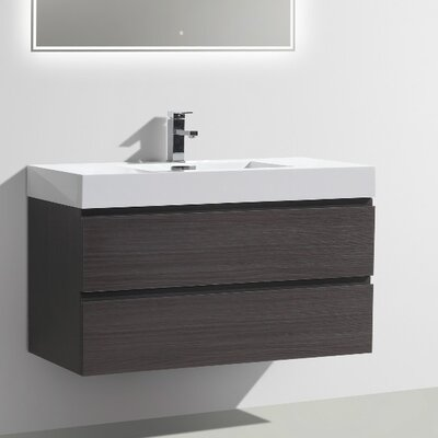 MOF 39 Single Bathroom Vanity Set Base Finish: Dark Gray Oak