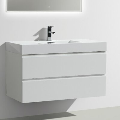 MOF 39 Single Bathroom Vanity Set Base Finish: High Gloss White