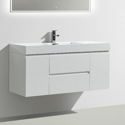MOF 47 Single Bathroom Vanity Set Base Finish: High Gloss White
