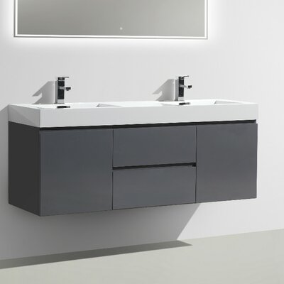 MOF 60 Double Bathroom Vanity Set Base Finish: High Gloss Gray