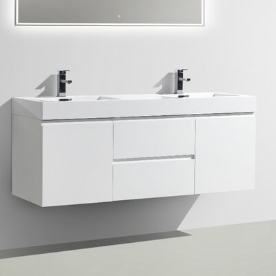MOF 60 Double Bathroom Vanity Set Base Finish: High Gloss White