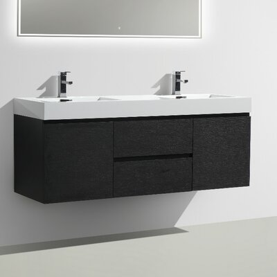 MOF 60 Double Bathroom Vanity Set Base Finish: Black