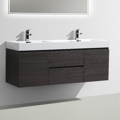 MOF 60 Double Bathroom Vanity Set Base Finish: Dark Gray Oak