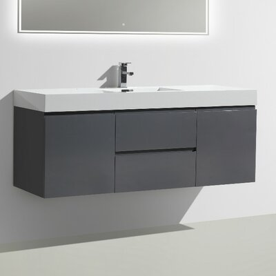 MOF 60 Single Bathroom Vanity Set Base Finish: High Gloss Gray