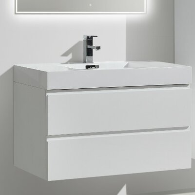 MOF 36 Single Bathroom Vanity Set Base Finish: High Gloss White