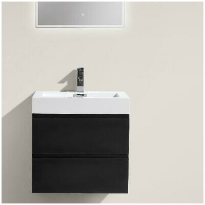 MOF 24 Single Bathroom Vanity Set Base Finish: Black