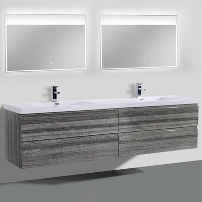 MOB 84 Double Bathroom Vanity Set Base Finish: Dark Gray Oak