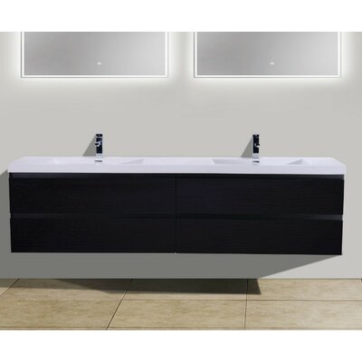 MOB 84 Double Bathroom Vanity Set Base Finish: Black
