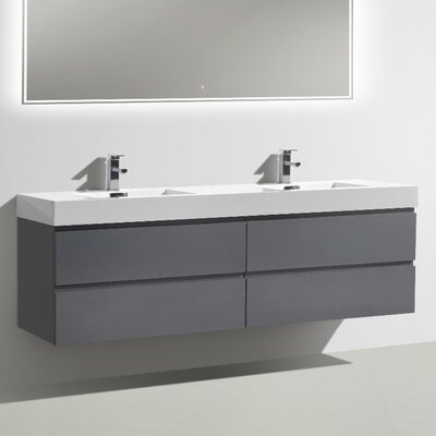 MOF 71 Double Bathroom Vanity Set Base Finish: High Gloss Gray