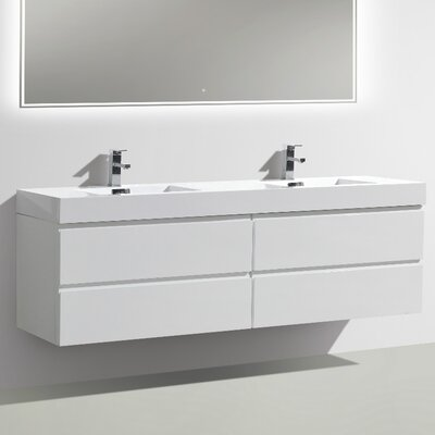 MOF 71 Double Bathroom Vanity Set Base Finish: High Gloss White
