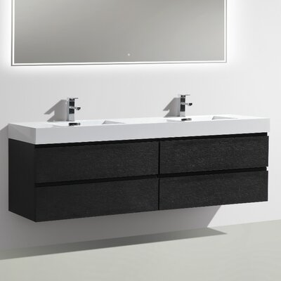 MOF 71 Double Bathroom Vanity Set Base Finish: Black