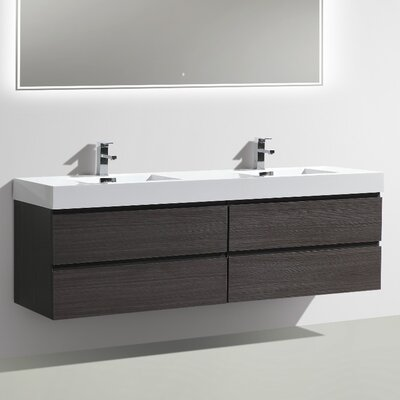 MOF 71 Double Bathroom Vanity Set Base Finish: Dark Gray Oak