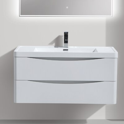 Ruelas 39 Single Bathroom Vanity Set Base Finish: High Gloss White