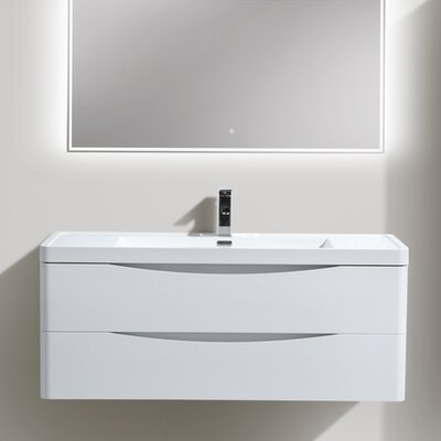 Ruelas 47 Single Bathroom Vanity Set Base Finish: High Gloss White