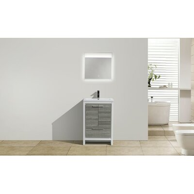 Melillo 23.5 Free Standing Modern Bathroom Vanity Base Finish: High Gloss Ash Gray