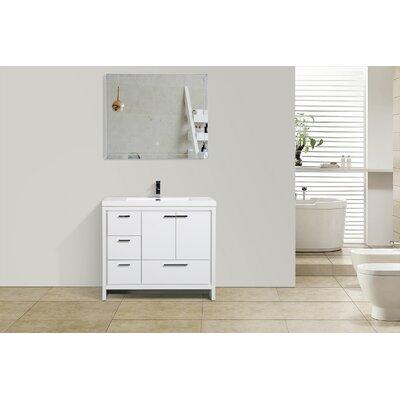 Melillo 41 Free Standing Modern Single Bathroom Vanity Base Finish: High Gloss White