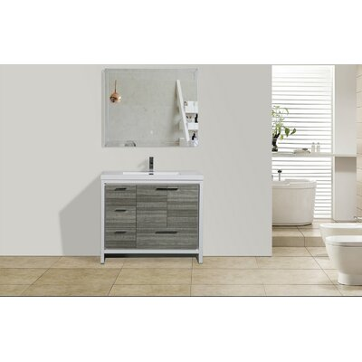 Melillo 41 Free Standing Modern Single Bathroom Vanity Base Finish: High Gloss Ash Gray
