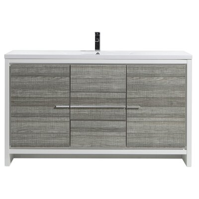 Melillo 59 Free Standing Modern Single Bathroom Vanity Base Finish: High Gloss Ash Gray