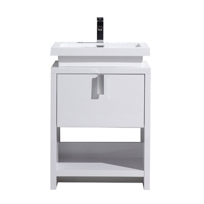 Gaynelle 24 Single Bathroom Vanity Set Base Finish: White