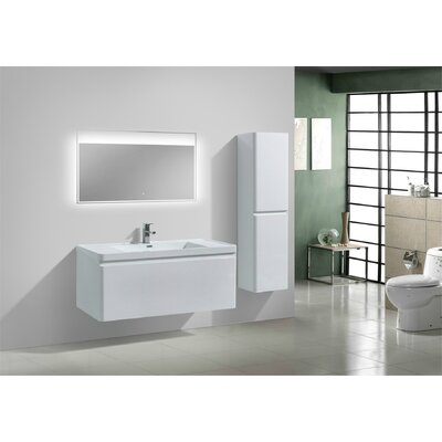 Happy 47 Single Bathroom Vanity Set Base Finish: High Gloss White