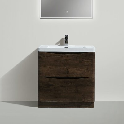 Ruelas Free Standing Modern 32 Single Bathroom Vanity Set Base Finish: Rosewood