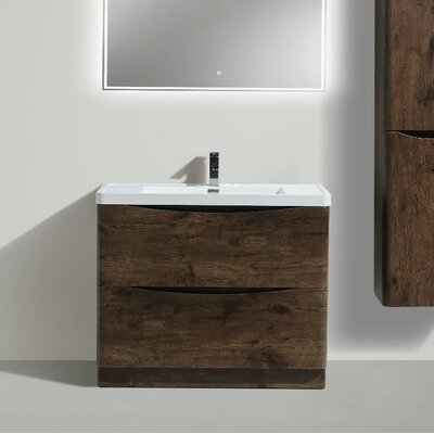 Ruelas Free Standing Modern 40 Single Bathroom Vanity Set Base Finish: Rosewood