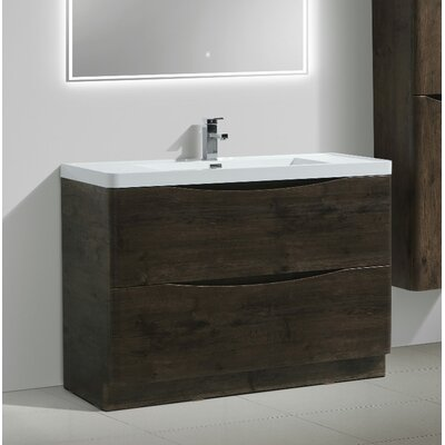 Ruelas Free Standing Modern 48 Single Bathroom Vanity Set Base Finish: Rosewood