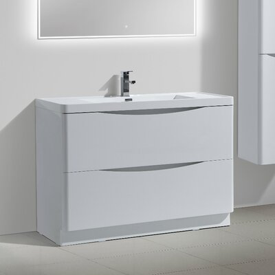 Ruelas Free Standing Modern 48 Single Bathroom Vanity Set Base Finish: White