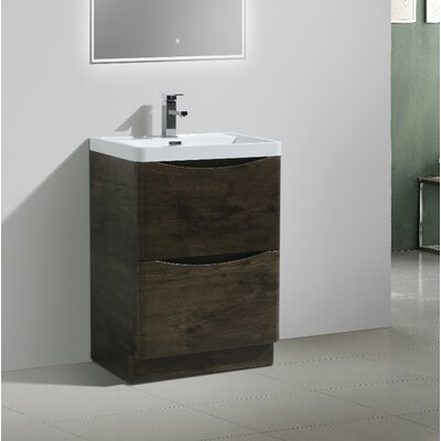 Ruelas Free Standing Modern 24 Single Bathroom Vanity Set Base Finish: Rosewood