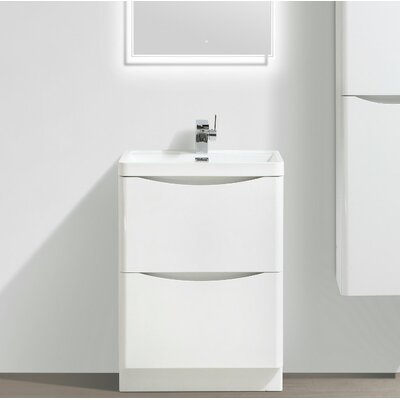 Ruelas Free Standing Modern 24 Single Bathroom Vanity Set Base Finish: White
