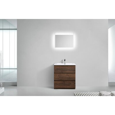 Riker Free Standing 30 Single Bathroom Vanity Set Base Finish: Rosewood